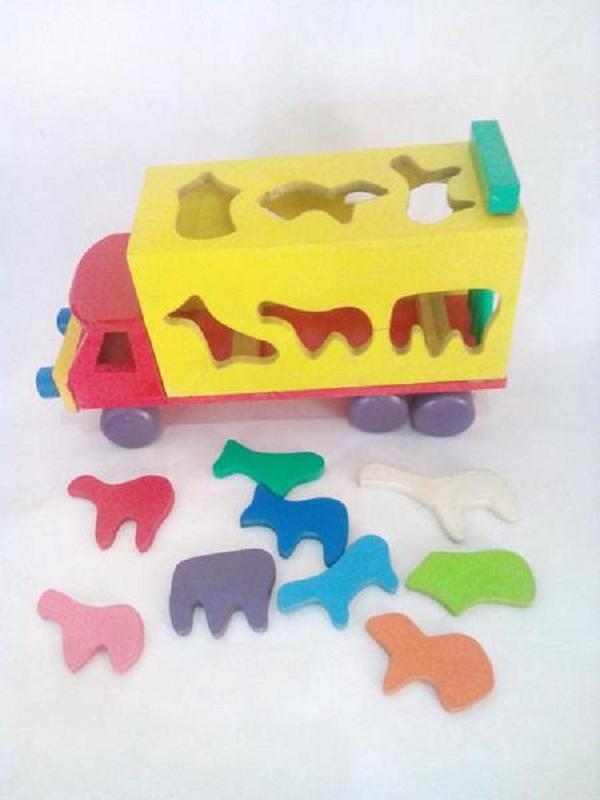 mainan edukatif dari kayu mainan-truk-sortasi