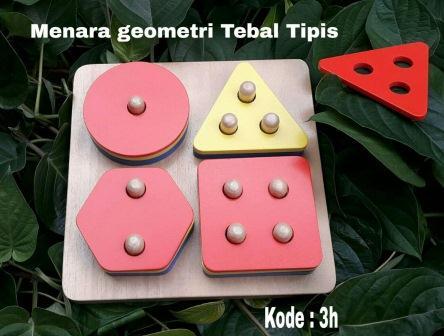 Mainan Anak Edukasi Menara Geometri Tebal Tipis