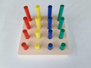 mainan anak edukatif kayu Pasak Pasak Tinggi Rendah