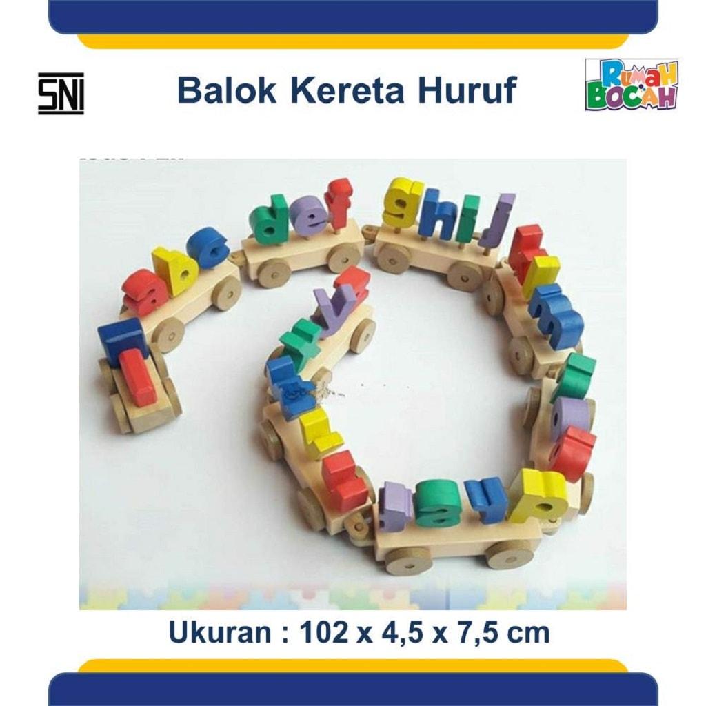 Mainan Edukasi Balok Kayu Kereta Huruf