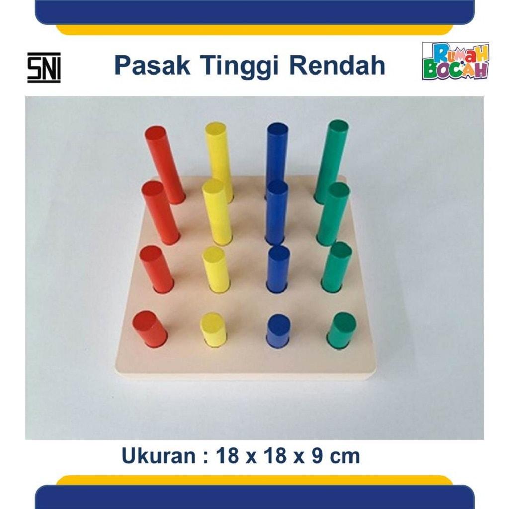jual Mainan Balok Kayu Murah Pasak Tinggi Rendah-