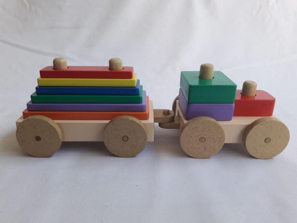 Jual Mainan Mobil Kayu Kereta Menara Warna