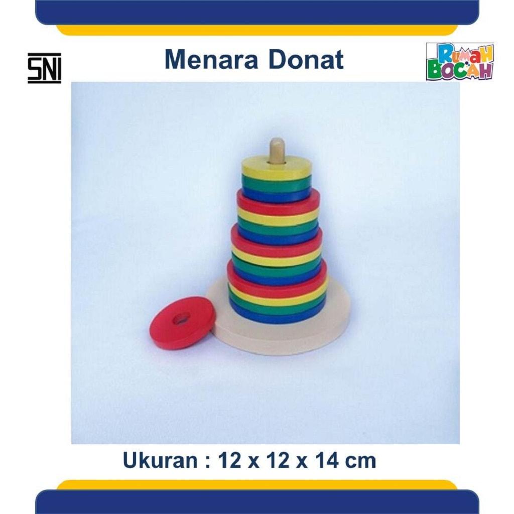 mainan anak dari kayu menara pelangi