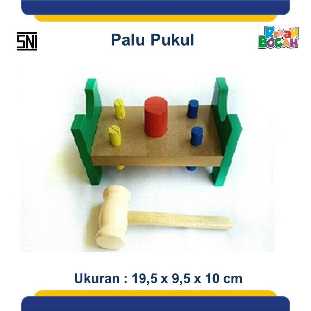 Mainan anak dari kayu pemukul palu