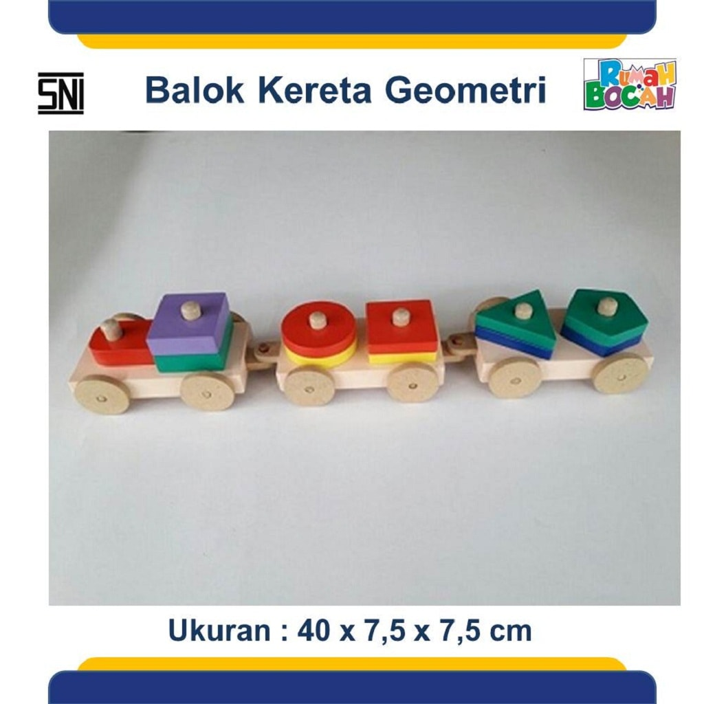 Jual Permainan Anak Indoor Balok Kereta Geometri
