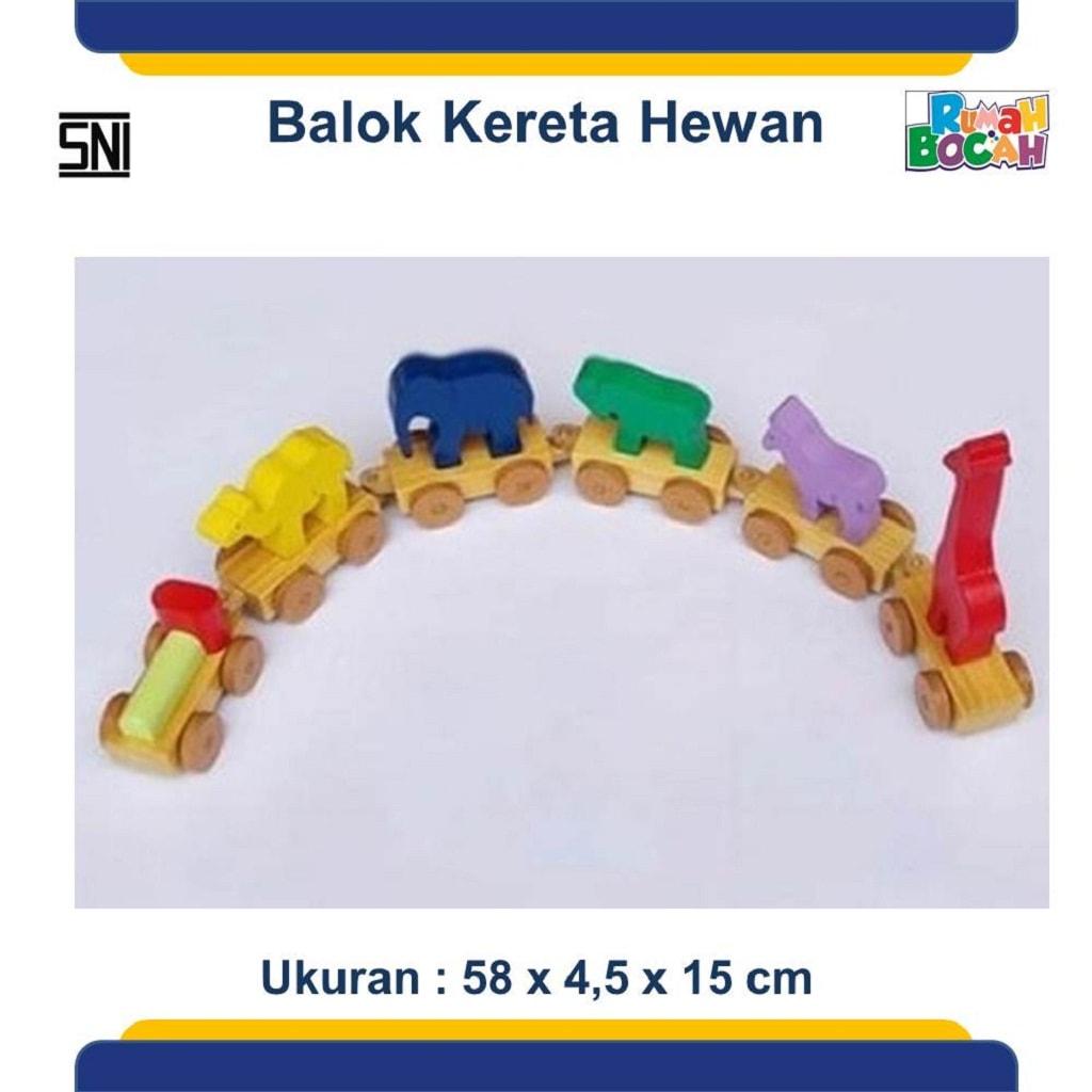 Jual Mainan Balok Kayu Susun Kereta Hewan