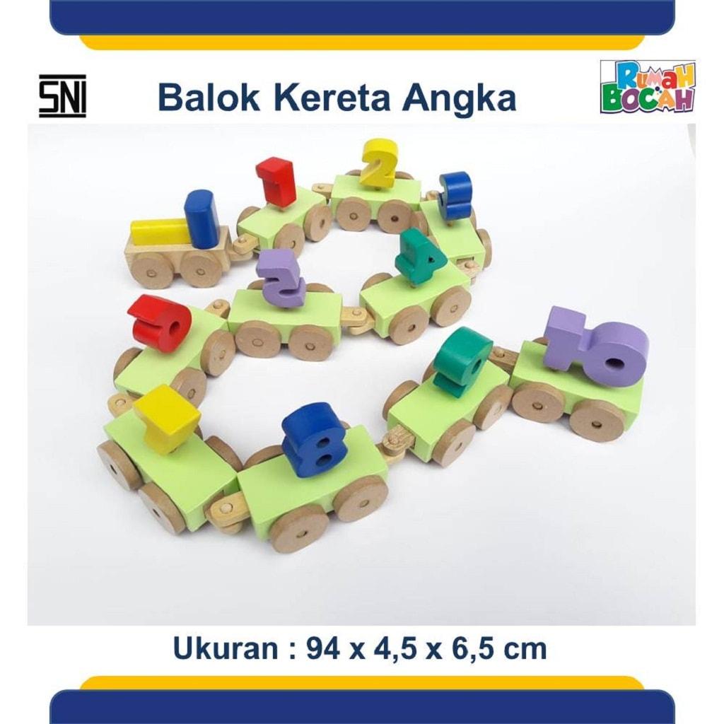 Jual Mainan Edukatif Dari Kayu Balok Kereta Angka
