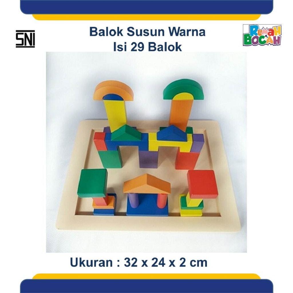 Jual Mainan Balok Kayu Susun Warna