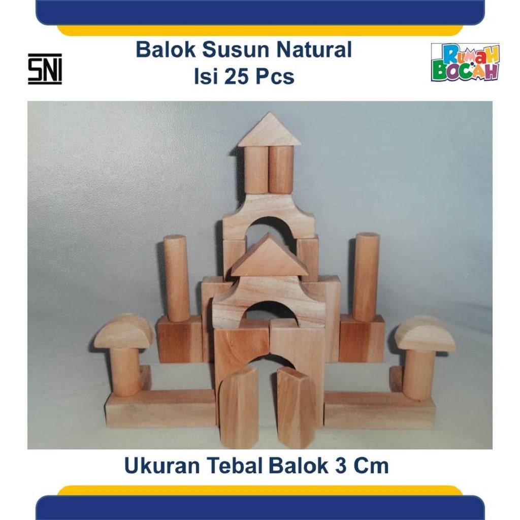 Jual Mainan Balok Kayu Susun Natural