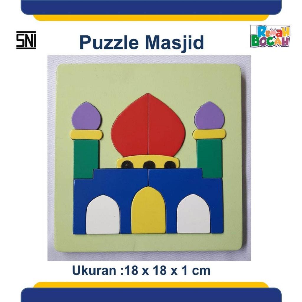 Puzzle Kayu Rumah Ibadah Masjid Untuk Anak