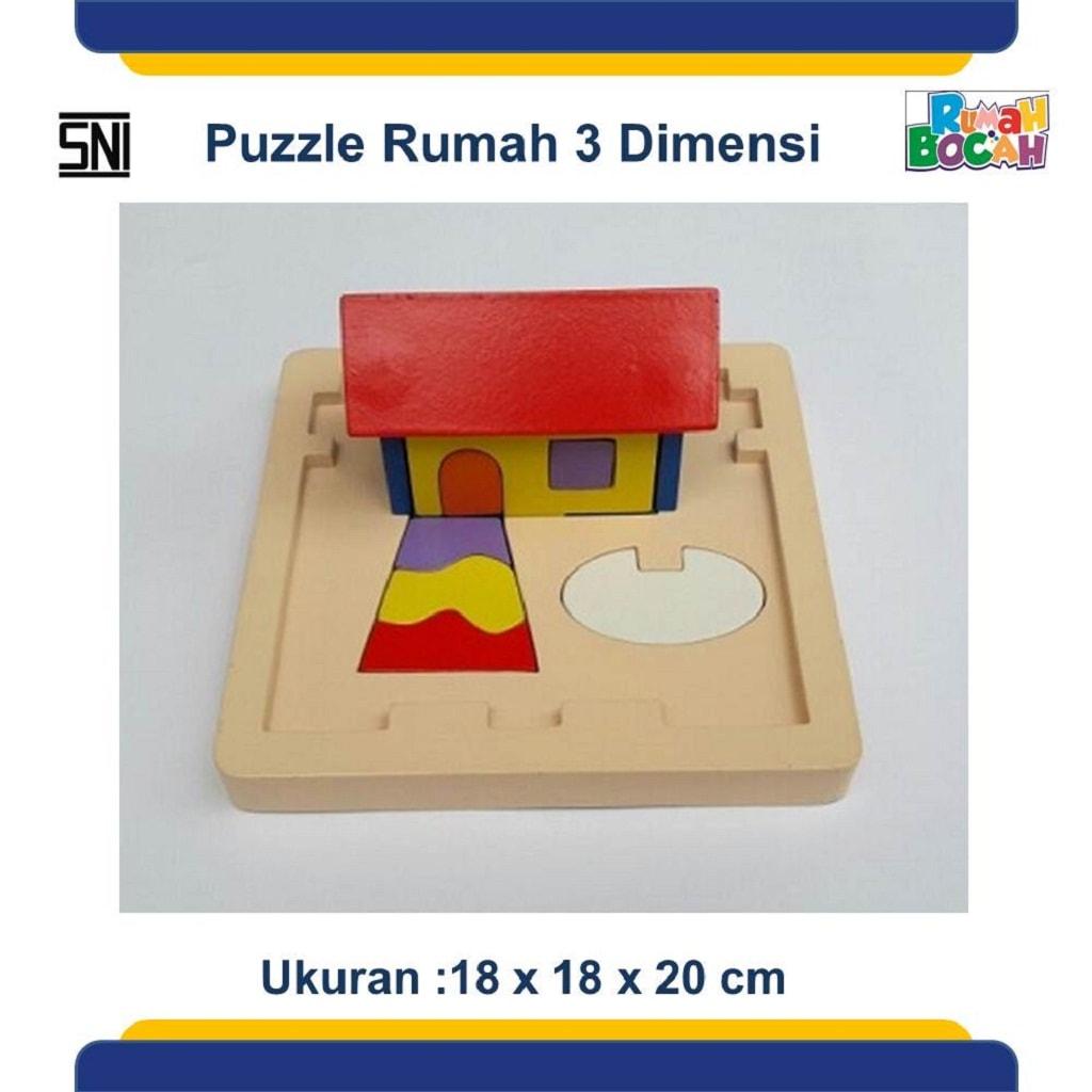 Grosir Puzzle Kayu 3D Rumah Murah