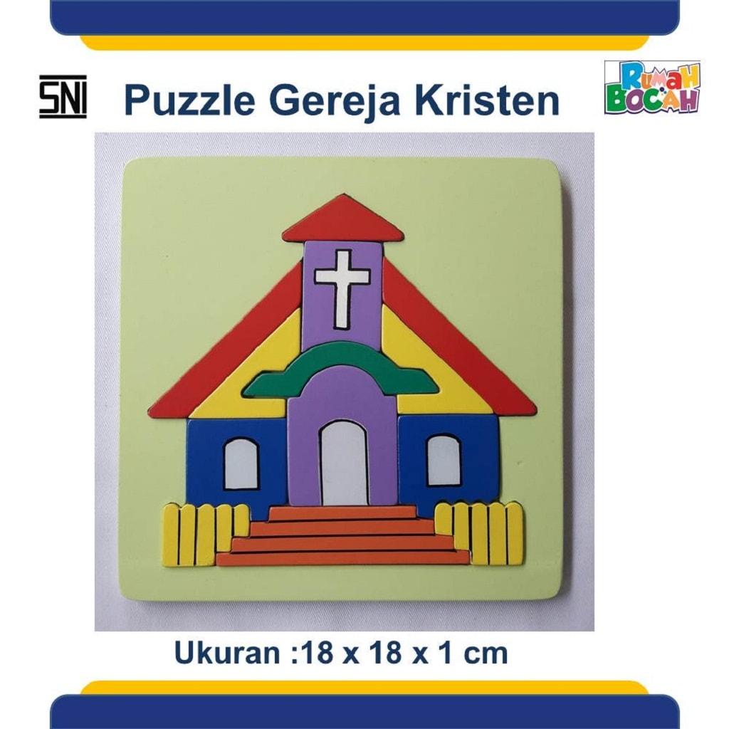 Jual Puzzle Anak Rumah Ibadah Gereja Kristen Murah