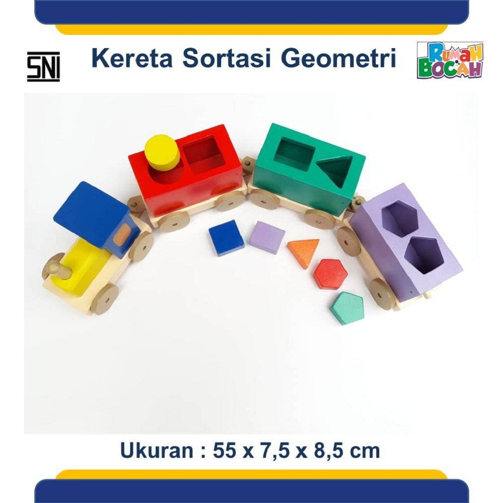 Jual Mainan Edukatif Anak 3 Tahun Balok Kereta Sortasi Geometri