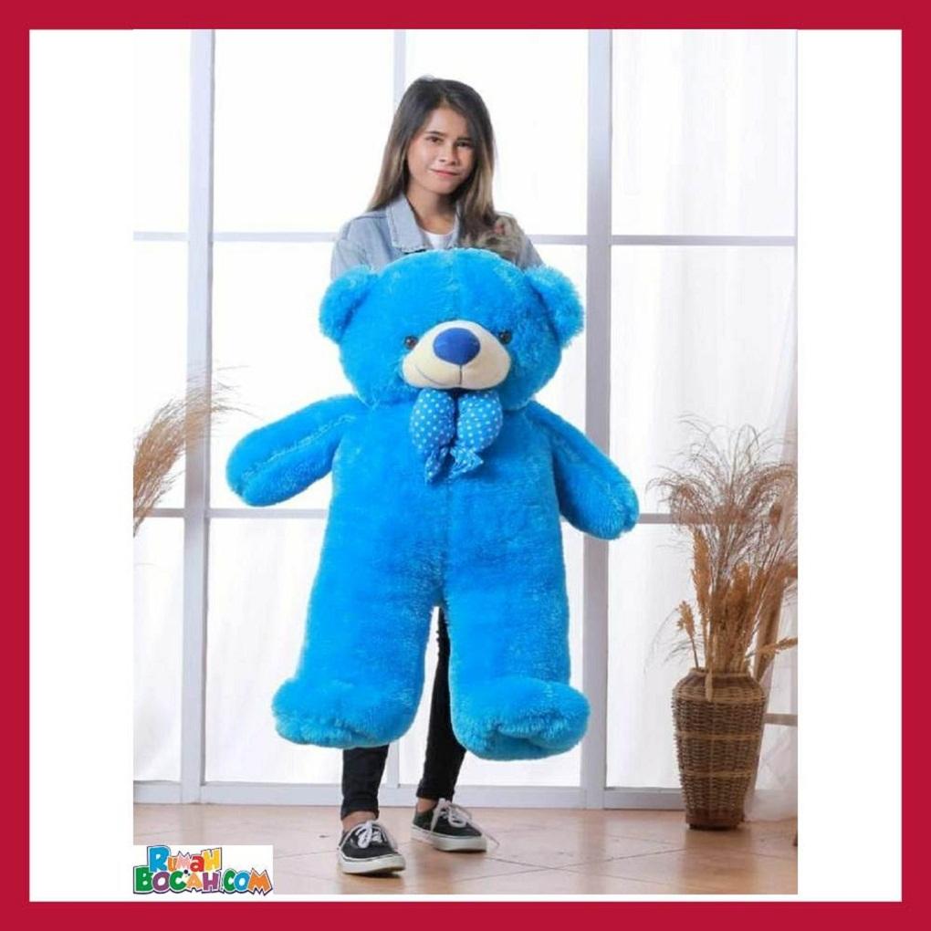Mainan Kado Anak Perempuan Boneka BesarJumbo 1 Meter Beruang Teddy Bear Chosy Biru Bisa Dicuci SNI