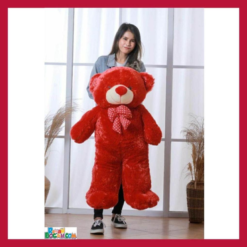 Mainan Kado Anak Perempuan Boneka BesarJumbo 1 Meter Beruang Teddy Bear Chosy Maroon Bisa Dicuci SNI
