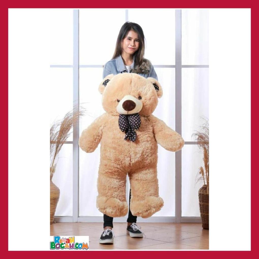 Mainan Kado Anak Remaja Perempuan Boneka BesarJumbo 1 Meter Beruang Teddy Bear Chosy Coklat Muda SNI