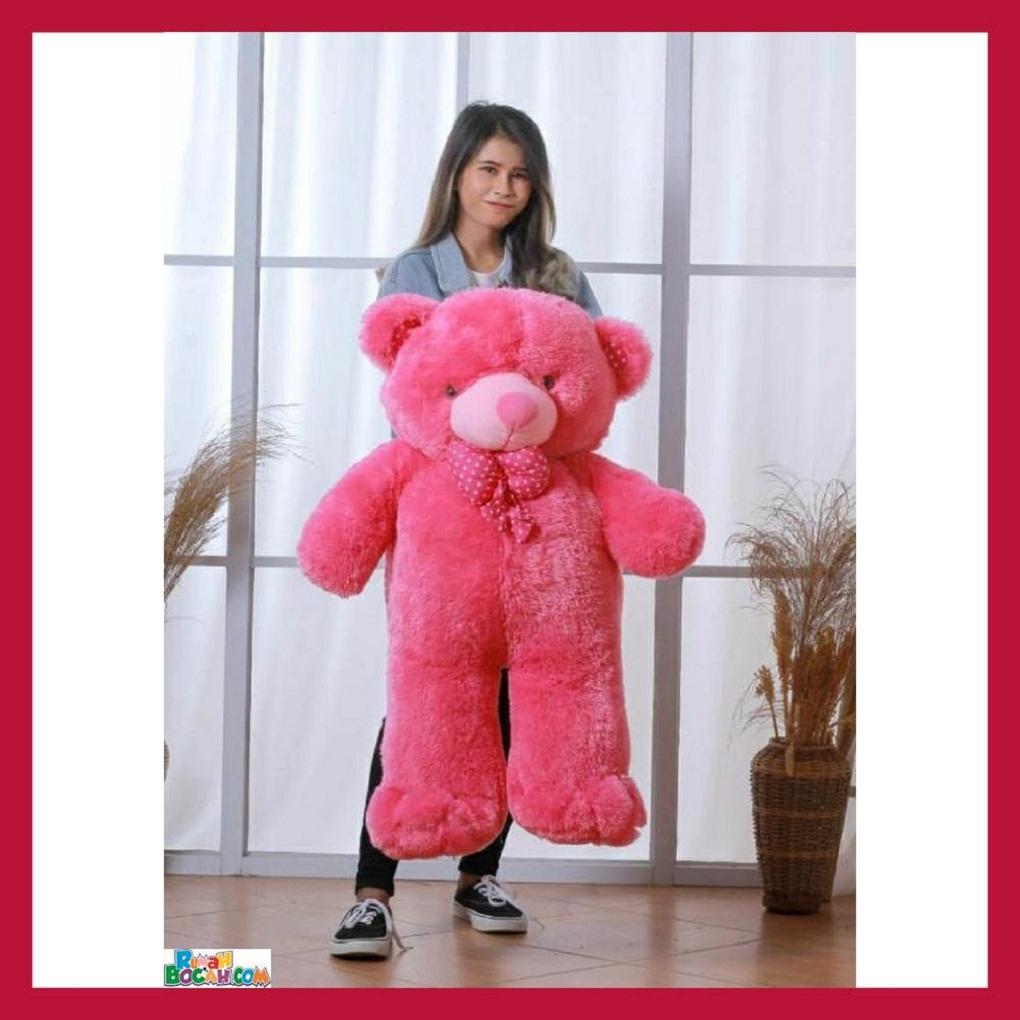 Mainan Kado Anak Remaja Perempuan Boneka BesarJumbo 1 Meter Beruang Teddy Bear Chosy Merah Bisa Dicuci SNI
