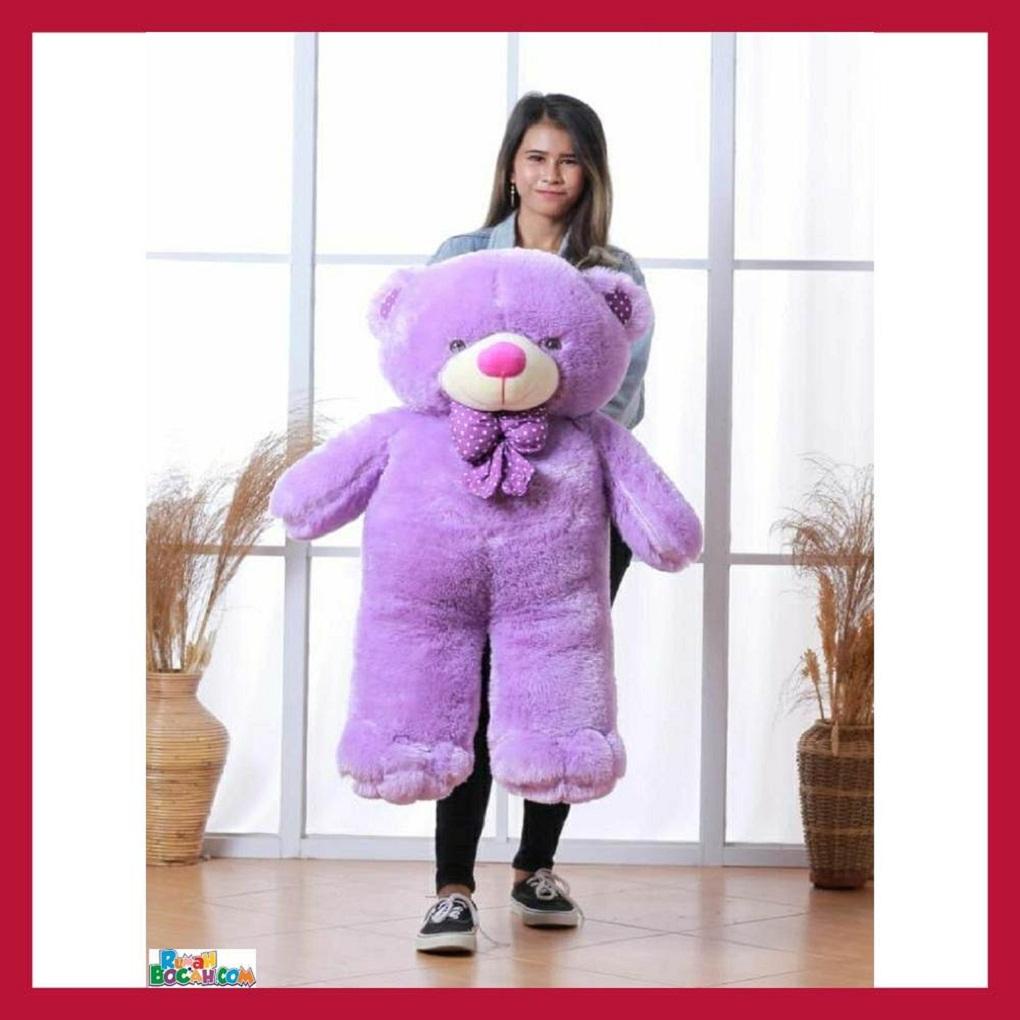 Mainan Kado Anak Remaja Perempuan Boneka BesarJumbo 1 Meter Beruang Teddy Bear Chosy Ungu DiCuci SNI