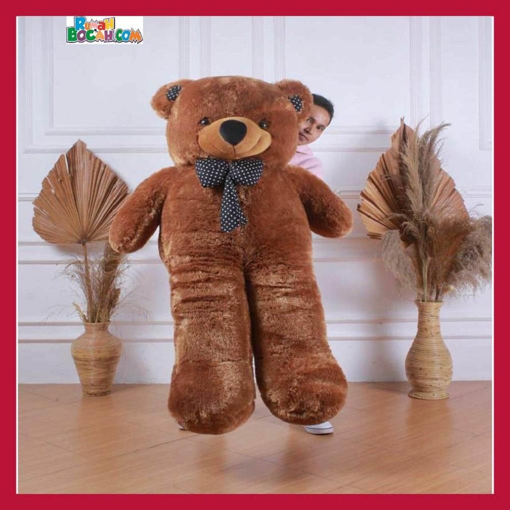 Mainan Kado Anak Perempuan Boneka Besar Jumbo 1,5 Meter Teddy Bear Beruang Dasi Coklat-min