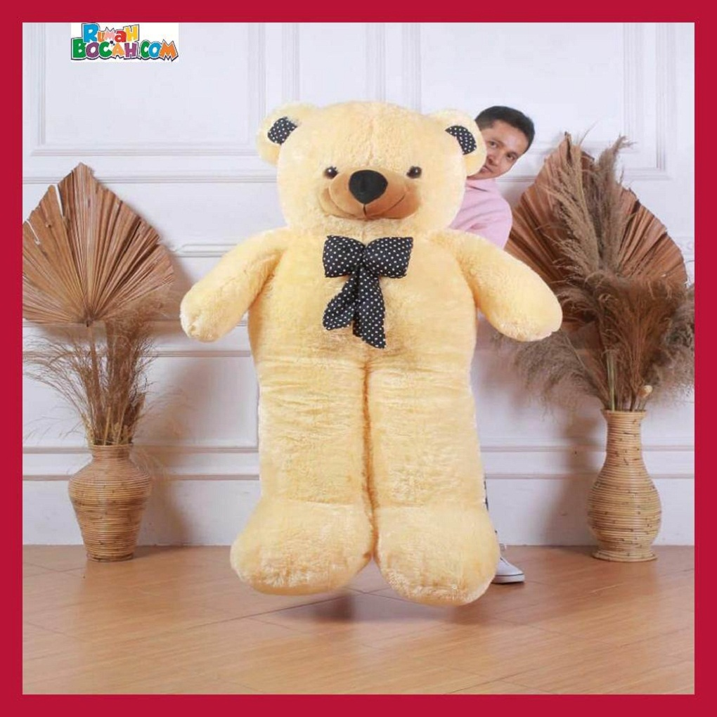 Mainan Kado Anak Perempuan Boneka Besar Jumbo 1,5 Meter Teddy Bear Beruang Dasi Crem-min