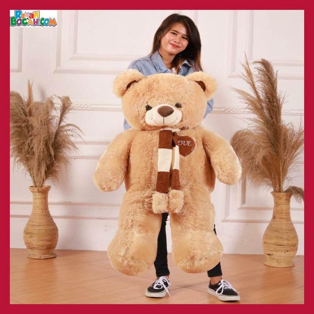 Mainan Kado Anak Remaja Perempuan Boneka Besar Jumbo 1 meter Beruang Teddy Bear Coklat Muda Syal Love-min