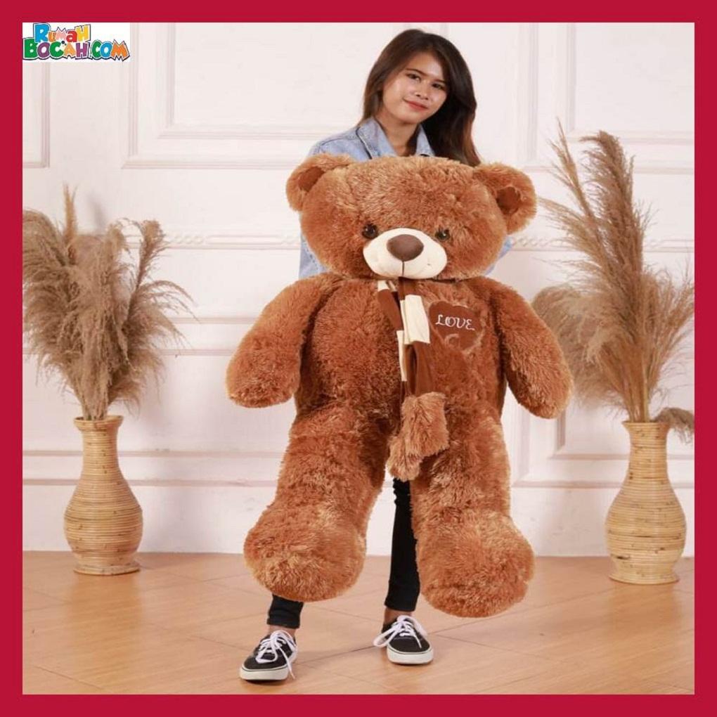 Mainan Kado Anak Remaja Perempuan Boneka Besar Jumbo 1 meter Beruang Teddy Bear Coklat Syal Love-