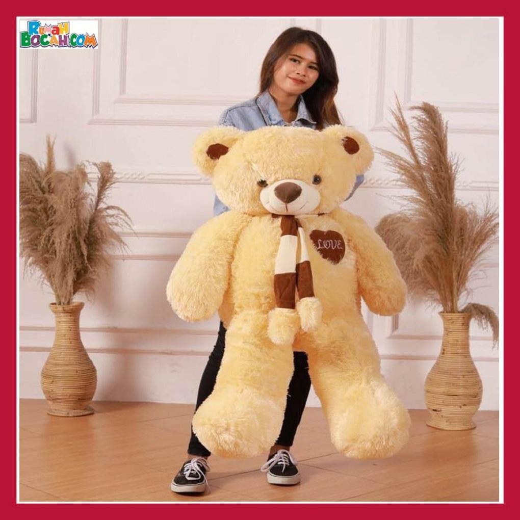 Mainan Kado Anak Remaja Perempuan Boneka Besar Jumbo 1 meter Beruang Teddy Bear Kuning Syal Love 1-min