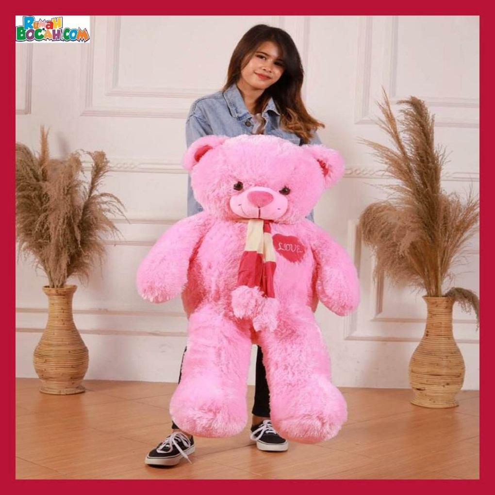 Mainan Kado Anak Remaja Perempuan Boneka Besar Jumbo 1 meter Beruang Teddy Bear Pink Syal Love-min