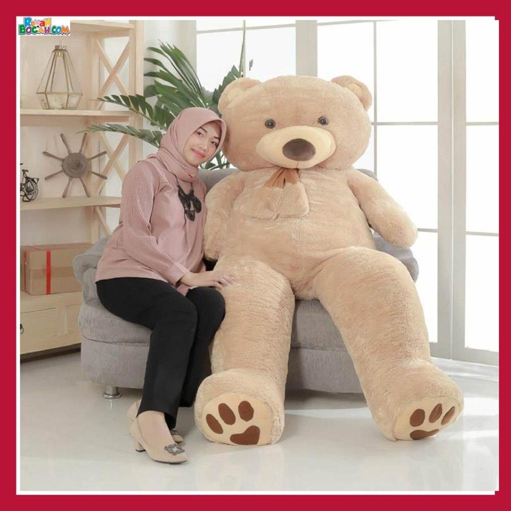 Mainan Kado Anak Remaja Perempuan Boneka Besar Jumbo 2 meter Beruang Teddy Bear Coklat Muda-min