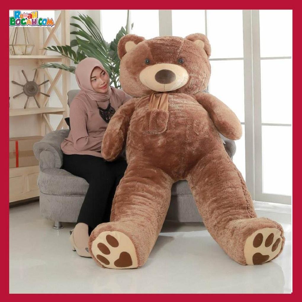 Mainan Kado Anak Remaja Perempuan Boneka Besar Jumbo 2 meter Beruang Teddy Bear Coklat -min