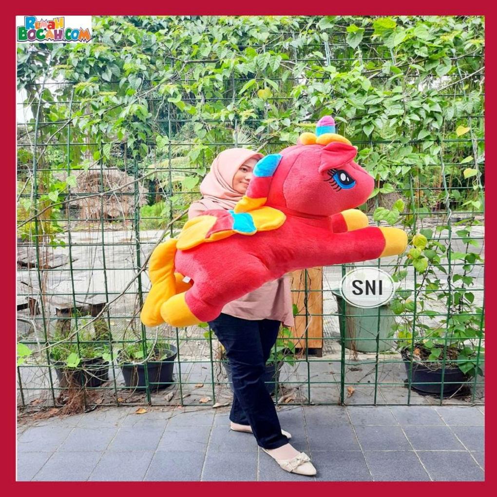 Mainan Kado Anak Remaja Perempuan Boneka Besar Jumbo Pony Yelvo SPJ Merah Bisa Dicuci SNI-min