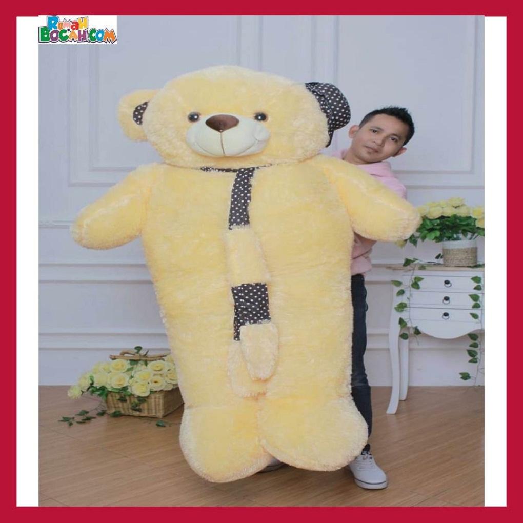 Mainan Kado Ulang Tahun Anak Remaja Sahabat Pacar Perempuan Cewek Boneka Jumbo Besar 1,5m Beruang Teddy Bear Syal Cream-min