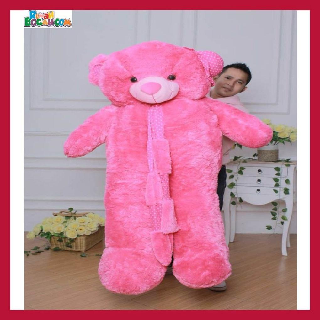 Mainan Kado Ulang Tahun Anak Remaja Sahabat Pacar Perempuan Cewek Boneka Jumbo Besar 1,5m Beruang Teddy Bear Syal Merah-min