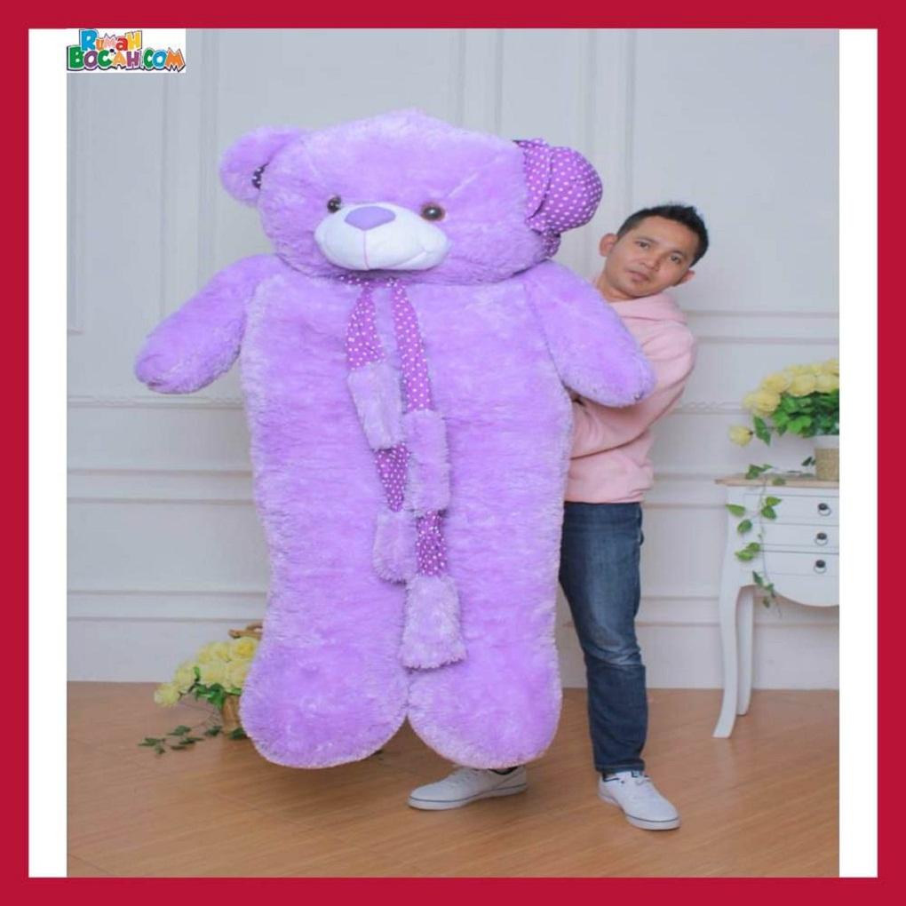 Mainan Kado Ulang Tahun Anak Remaja Sahabat Pacar Perempuan Cewek Boneka Jumbo Besar 1,5m Beruang Teddy Bear Syal Ungu-min
