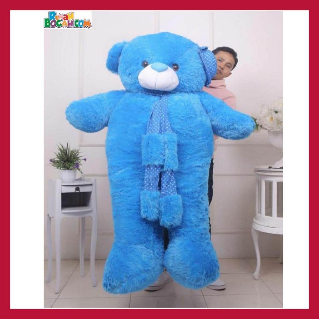 Mainan Kado Ulang Tahun Anak Remaja Sahabat Pacar Perempuan Cewek Boneka Jumbo Besar 1,5m Beruang Teddy Bear Syal Biru-min