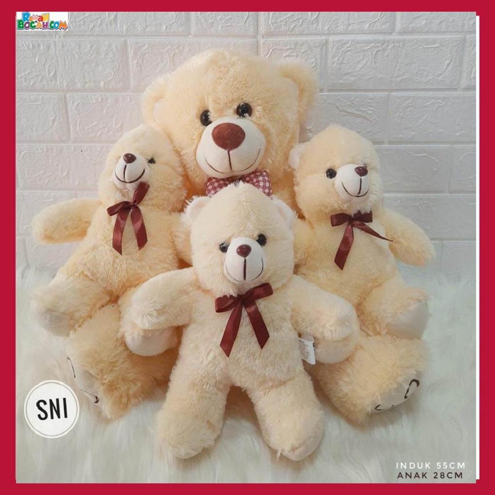 Mainan Kado Ulang Tahun Anak Remaja Sahabat Pacar Perempuan Cewek Boneka Teddy Bear Beranak Tiga-min