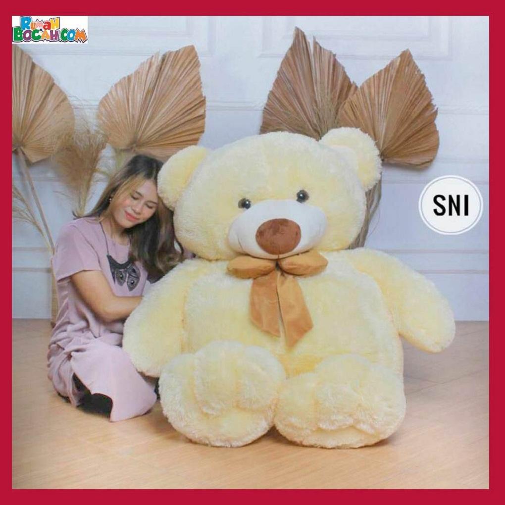 Mainan Kado Ulang Tahun Anak Remaja Sahabat Pacar Perempuan Cewek Boneka Besar Jumbo 1 m Big Teddy Cream-min