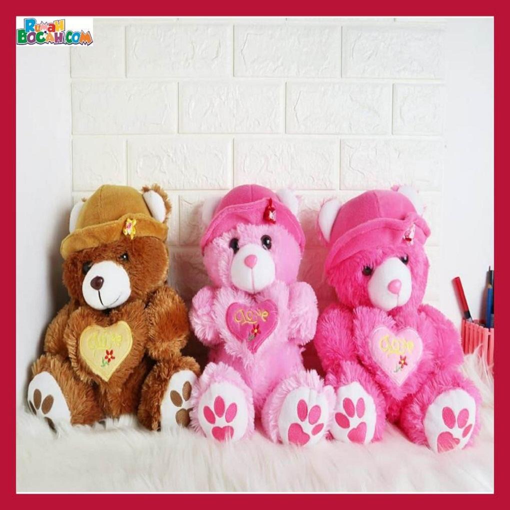 Mainan Kado Ulang Tahun Anak Sahabat Pacar Remaja Perempuan Cewek Boneka Hewan Beruang Bear Topi-min