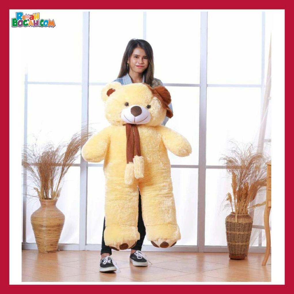 Mainan Kado Ulang Tahun Anak Sahabat Pacar Remaja Perempuan Cewek Boneka Jumbo Besar Beruang Bear Topi Telapak Cream-min