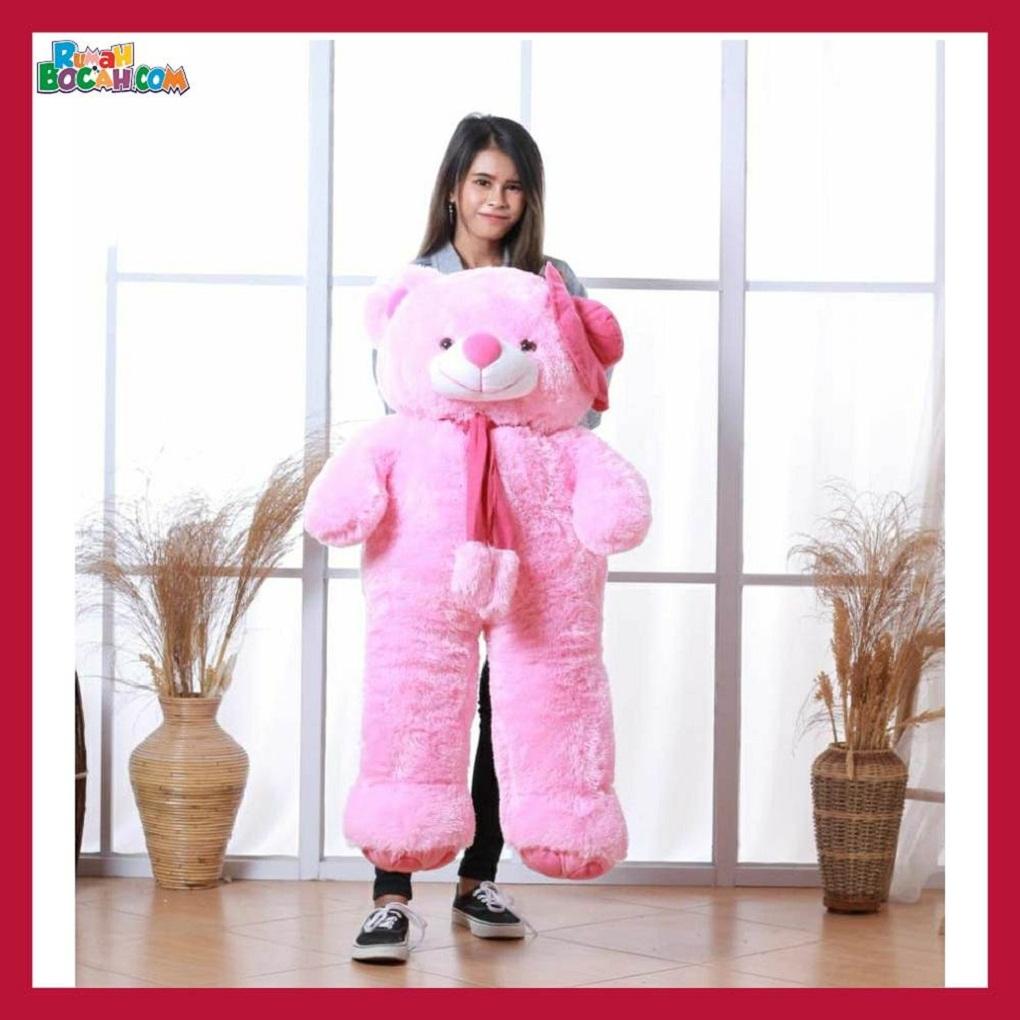 Mainan Kado Ulang Tahun Anak Sahabat Pacar Remaja Perempuan Cewek Boneka Jumbo Besar Beruang Bear Topi Telapak Pink Bisa Dicuci-min