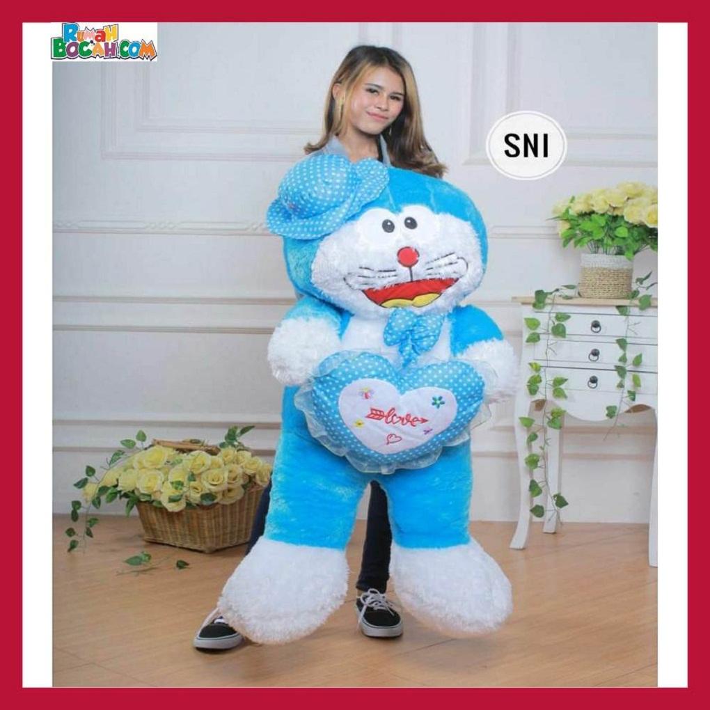 Mainan Kado Ulang Tahun Anak Sahabat Pacar Remaja Perempuan Cewek Boneka Jumbo Besar Doraemon Topi Love-min